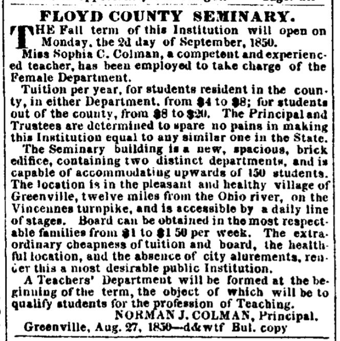 Article on Floyd County Seminary - August 27, 1850