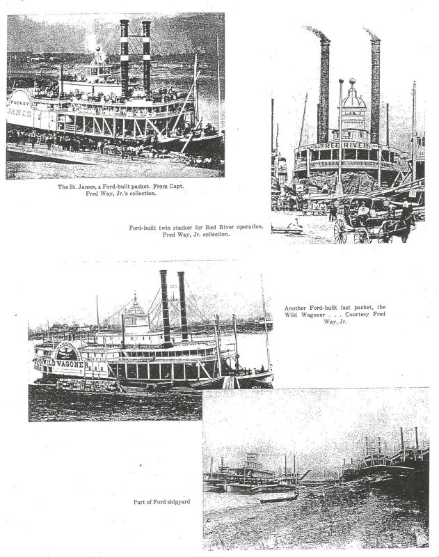 Steamboats produced by Captain Ford in New Albany